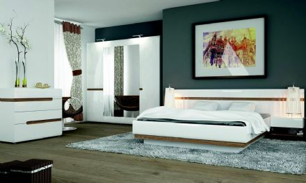 Chelsea Lift Up Function Bedroom Set in white gloss with an Truffle Oak Trim )